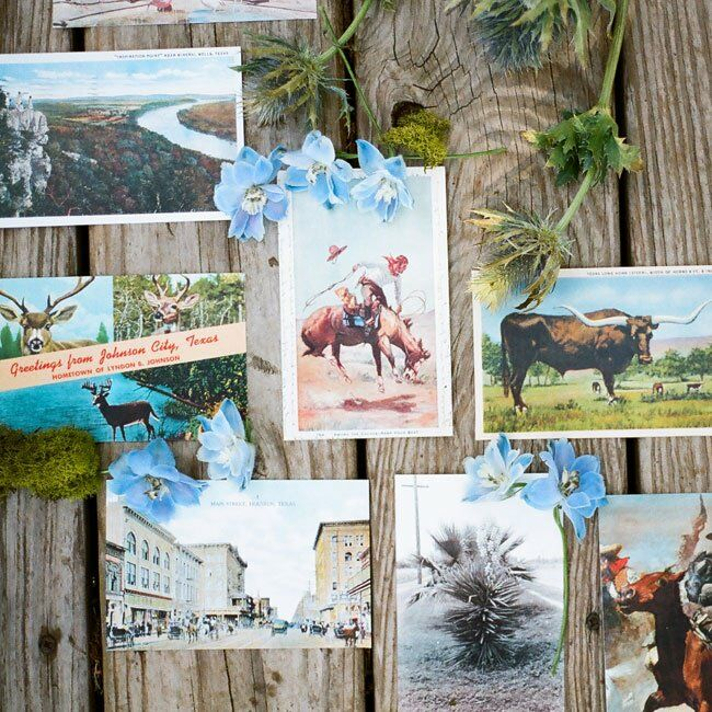 Vintage postcards from hill country destinations added a local vibe to the rustic reception decor.