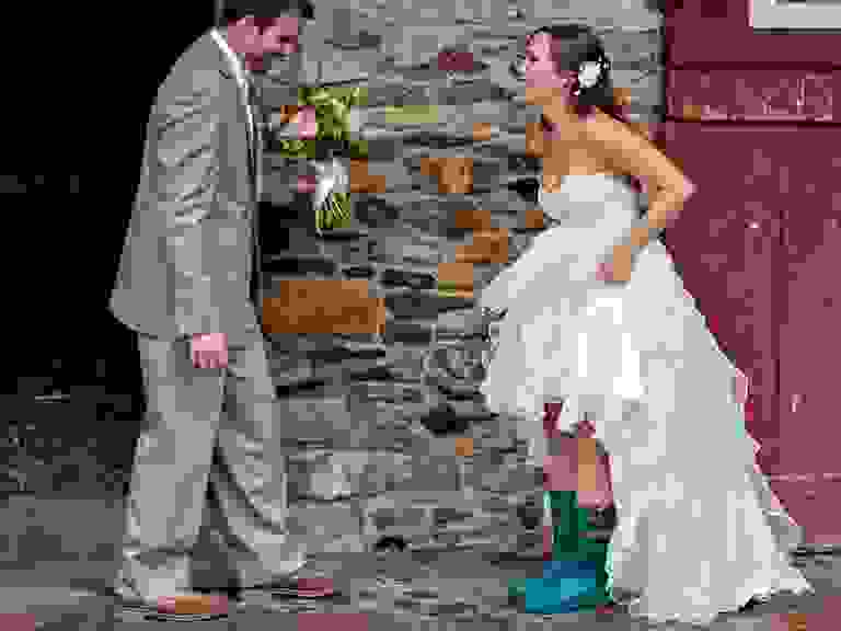 Rain boots wedding day first look