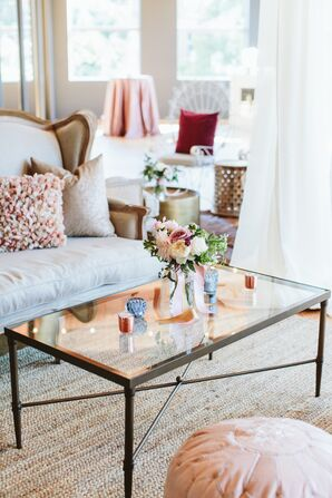Modern Cocktail Hour Lounge Area with Romantic Flowers and Candles