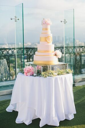 Elegant Gold Multitier Wedding Cake