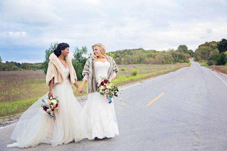 """""""Our engagement weekend in Traverse City was so romantic,"""" the couple says of their celebratory trip north. """"It was filled with good food, wine tasting and exploring. We decided then that Traverse City was where we would get married."""""""