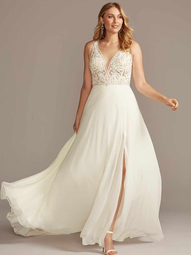 Galina Signature illusion neckline wedding dress
