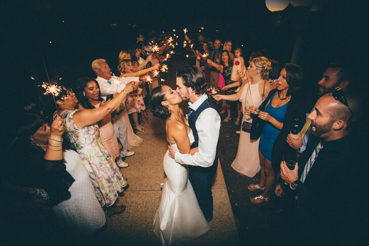After the last song was played, the newlyweds and their guests parted ways. The couple's friends and family sent Jamila and Dennis off with a bang, surrounding the pair in a blaze of bright sparkler light.