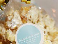Popcorn themed wedding favor sticker labels