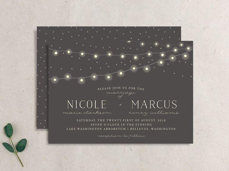 Rustic string lights wedding invitation