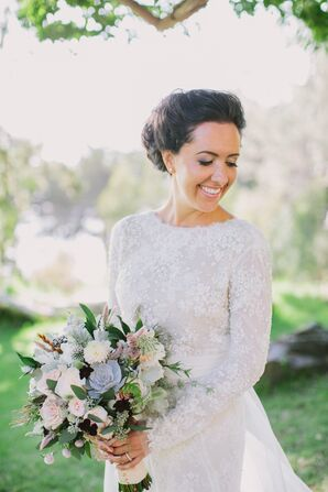 Classic Long-Sleeve Lace Wedding Gown