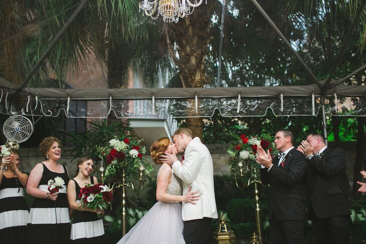 """The bride penned the emotional ceremony, which included a chance for guests to """"take in the moment"""" using selfie sticks."""