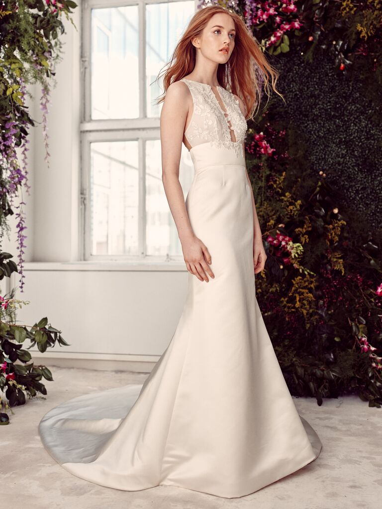 Alyne by Rita Vinieris Spring/Summer 2020 Bridal Collection fit-and-flare wedding dress with high neckline and keyhole detail