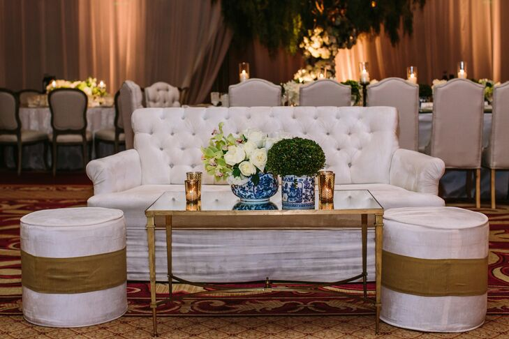 Another design aspect to created within the ballroom was intimate seating around the dance floor consisting of sofas and ottomans, which allowed guests who weren't ready to dance to still feel included.