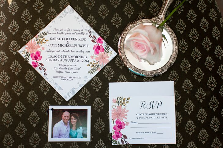 Painted orchids on the invitations referenced the couple's personal orchid collection.