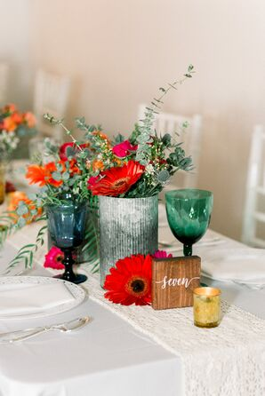 Vintage Centerpiece with Red Sunflowers and Wood Table Number