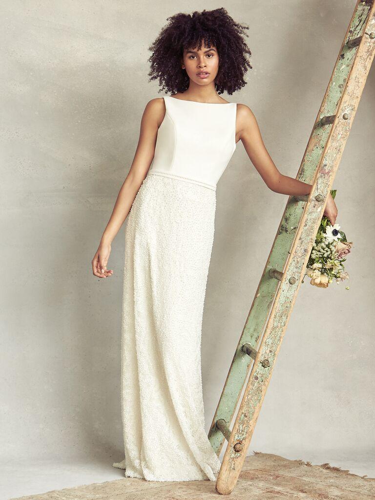 Savannah Miller Spring 2020 Bridal Collection high-neck column wedding dress