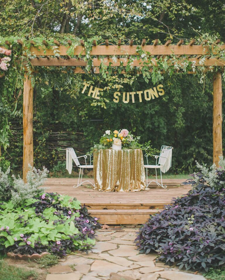 Rustic sweetheart table at the wedding reception
