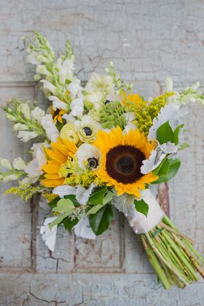Bright Sunflower and Anemone Bridal Bouquet
