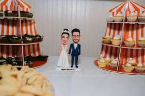 Eclectic Cupcake Stands and Personalized Cake Topper