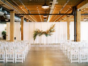 Industrial Wedding Ceremony with Hanging Pampas Grass Installation
