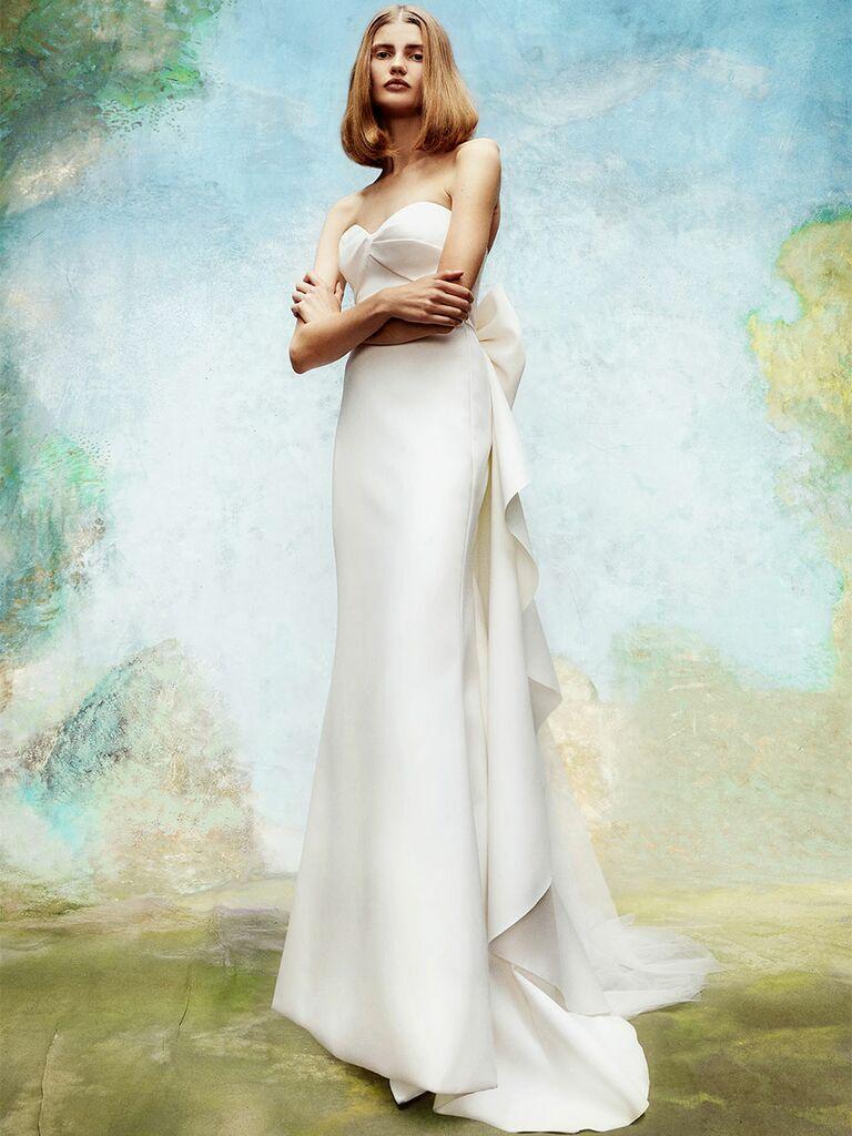 Viktor&Rolf wedding dress strapless sheath with back ruffle