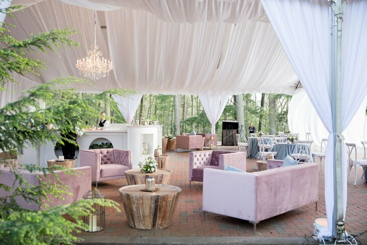 Tented Reception with Pink Velvet Lounge Furniture and Draping