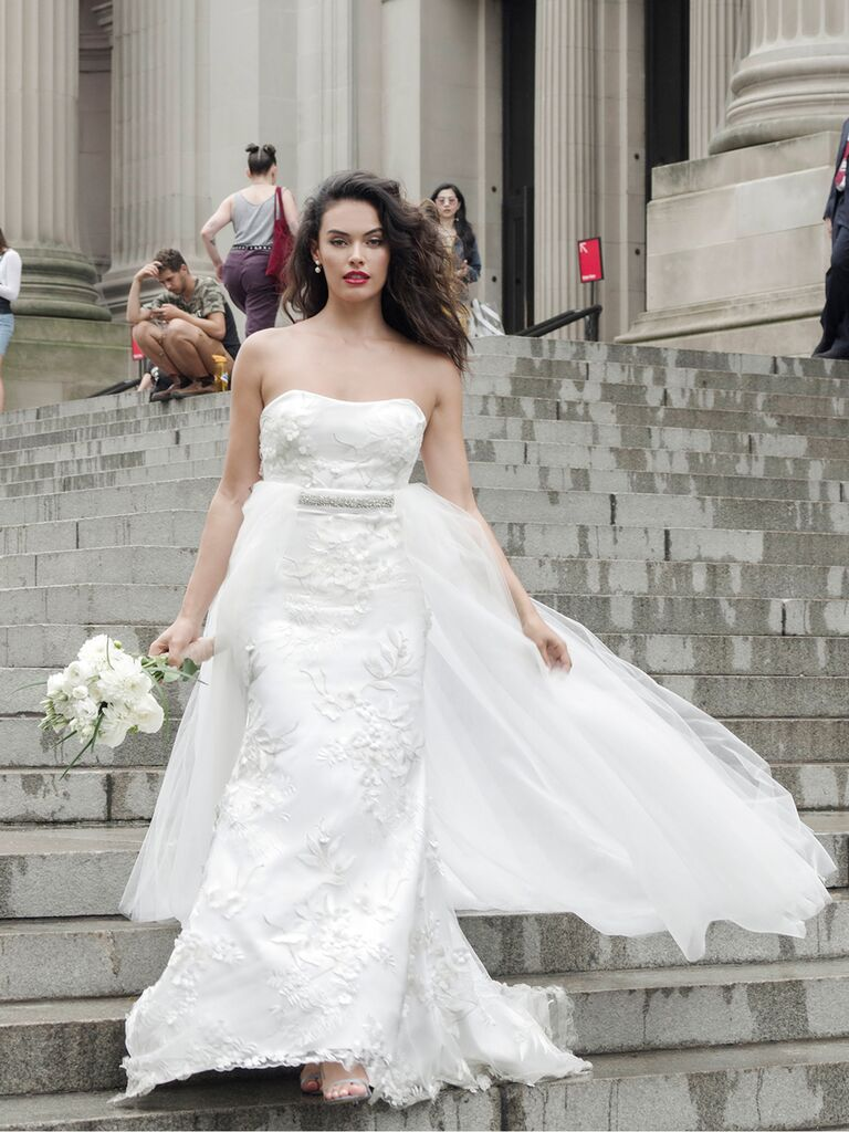 Catherine Kowalski Fall 2019 lace strapless wedding dress with a tulle train