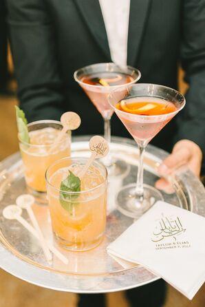 Custom Arabic Monogram Cocktail Stirrers and Napkins