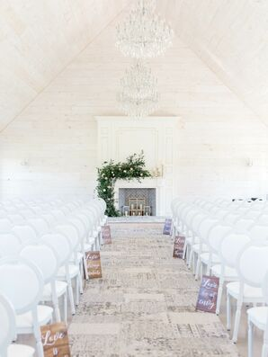 White Barn Wedding with Greenery and Chandeliers
