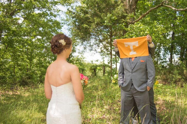 Byron used a University of Tennessee flag as a blindfold before his first look at Andrea. He wore a gray suit with an orange tie and pocket square to show his love for the Vols.