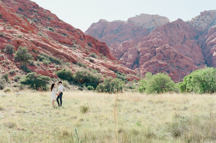 The couple had the opportunity to explore Red Rock Canyon which is a desert area filled with multicolored sandstone formations.