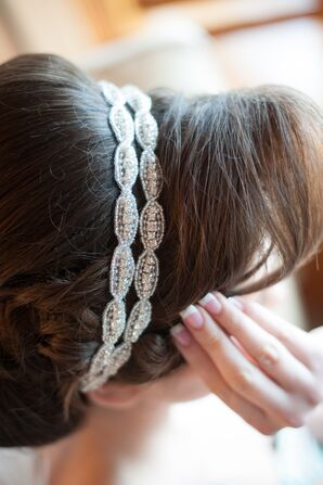 Silver Beaded Wrapped Bridal Headband