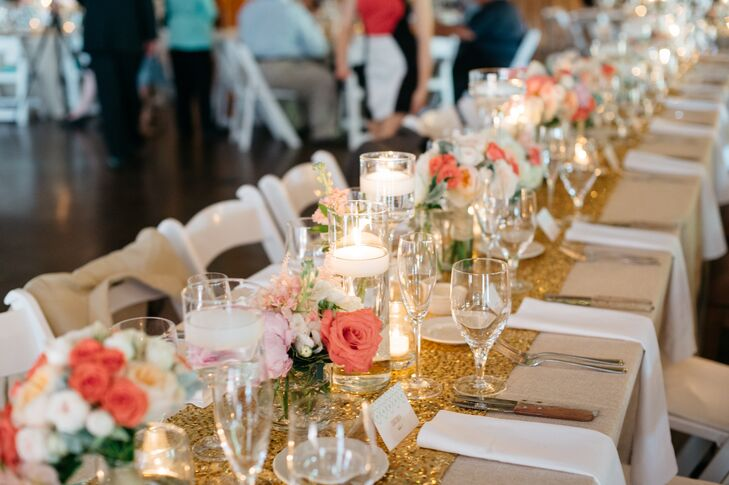 Gold sequined tablecloths offered just the right amount of glitz, while floating candles and small arrangements of roses and peonies in coral, blush and ivory added romance.