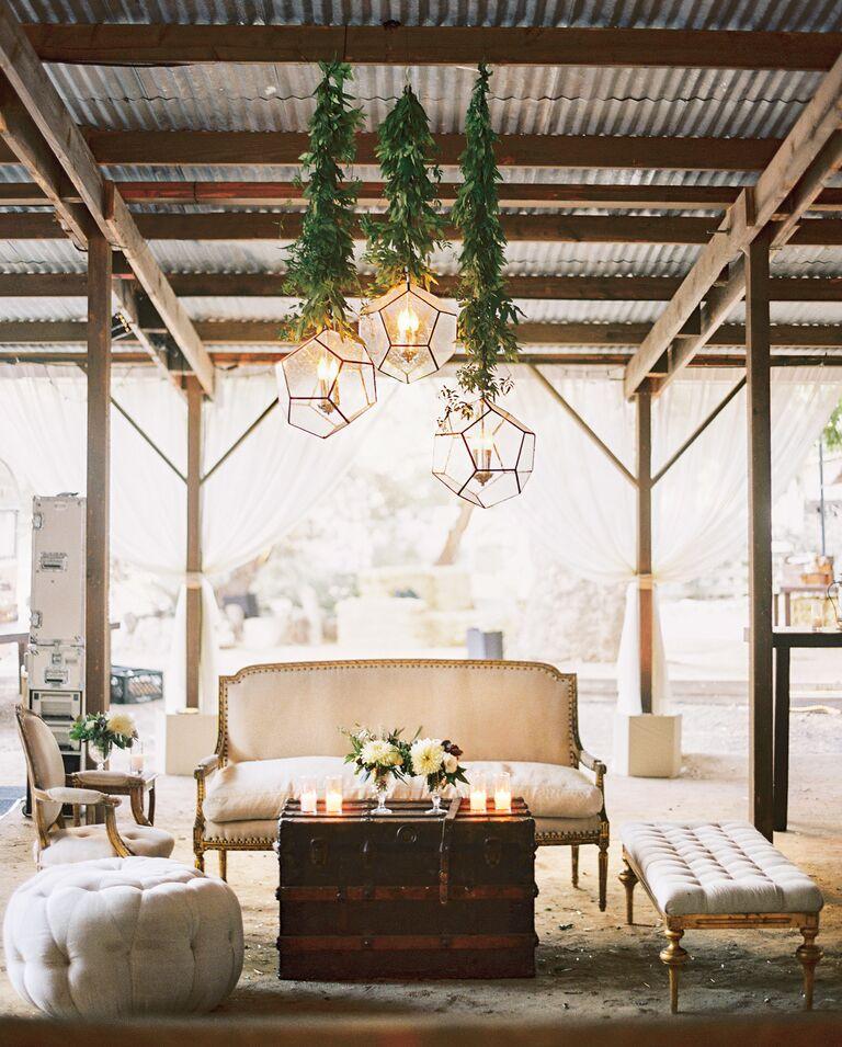 Antique furniture lounging area in reception venue