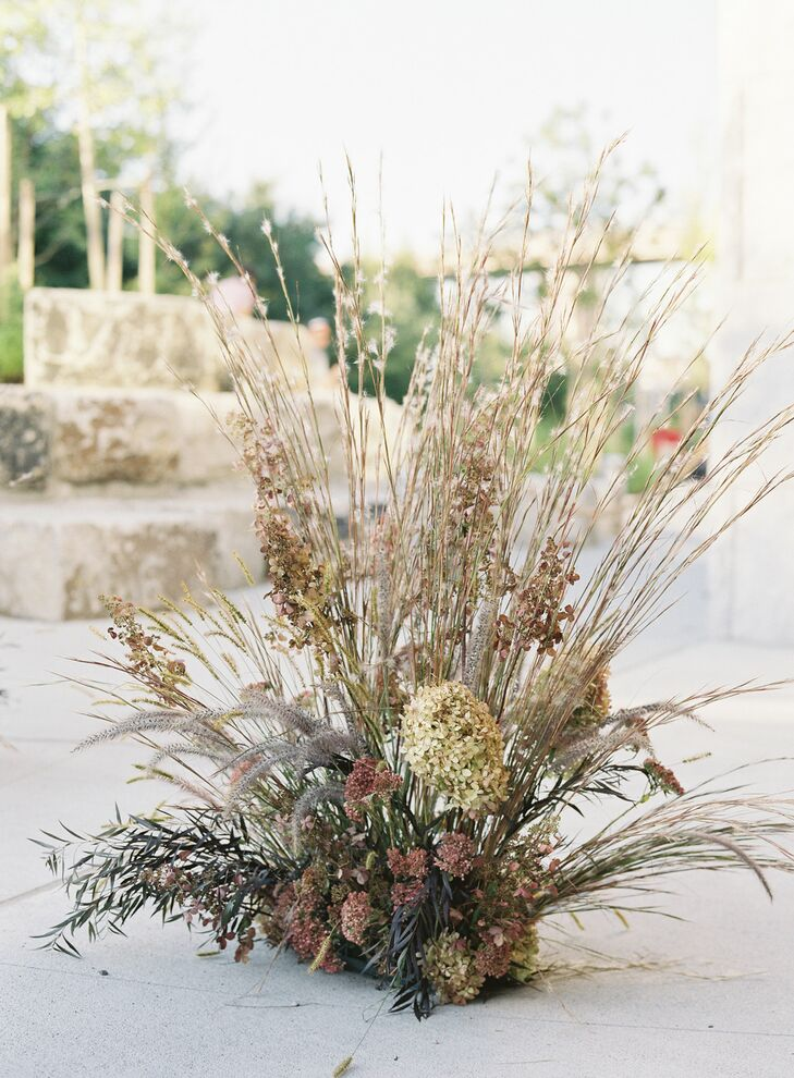 Organic Arrangement of Dried Hydrangeas and Ornamental Grasses