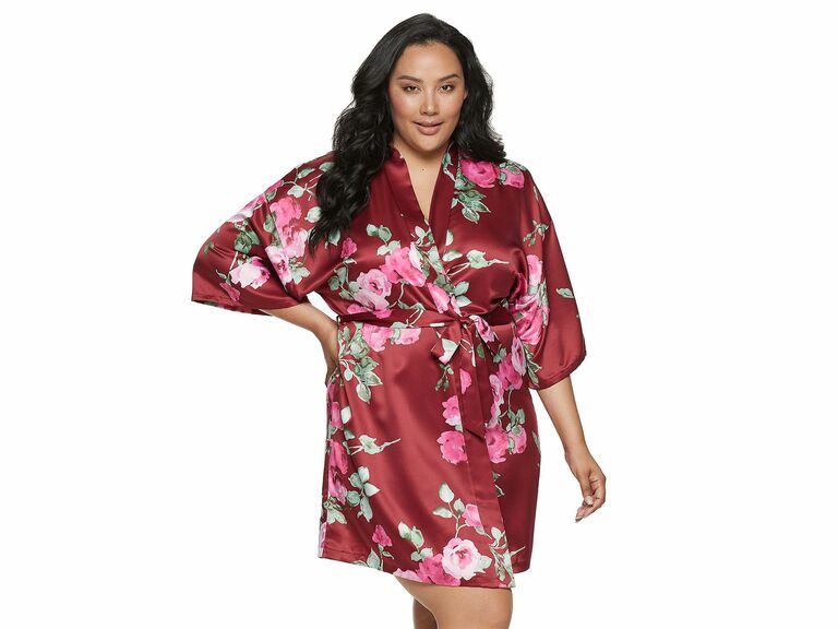 short floral satin robe