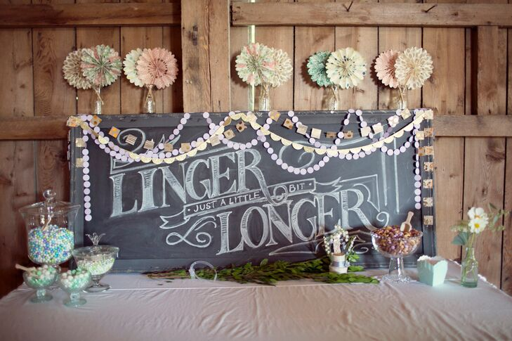A Pastel Candy Bar and Chalkboard Sign