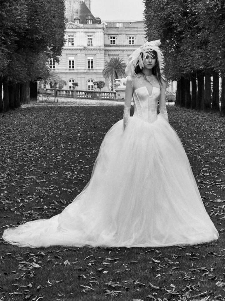 d8952bbdd4263 Vera Wang Fall 2018 ball gown wedding dress with corset bodice and illusion  long sleeves