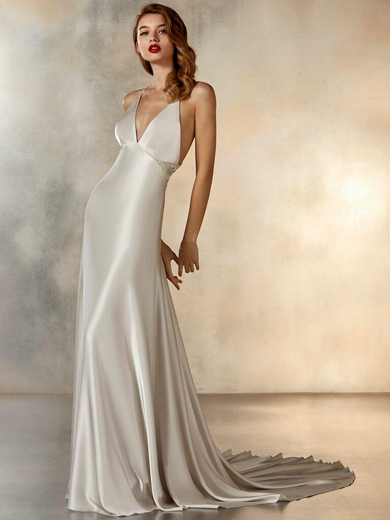 Atelier Provonias wedding dress empire dress with spaghetti straps