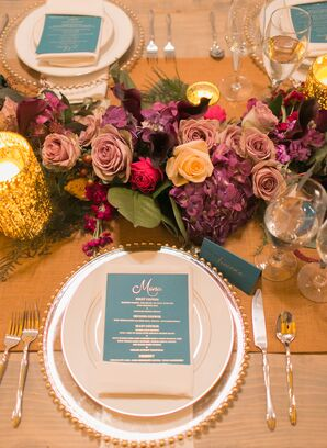 Floral and Gold Place Setting