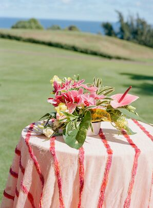 Pink Anthurium Floral Arrangement at Post-Wedding Brunch in Hawaii