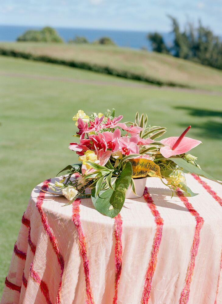 Pink Anthurium Floral Arrangement at Post-Wedding Brunch in Hawaii