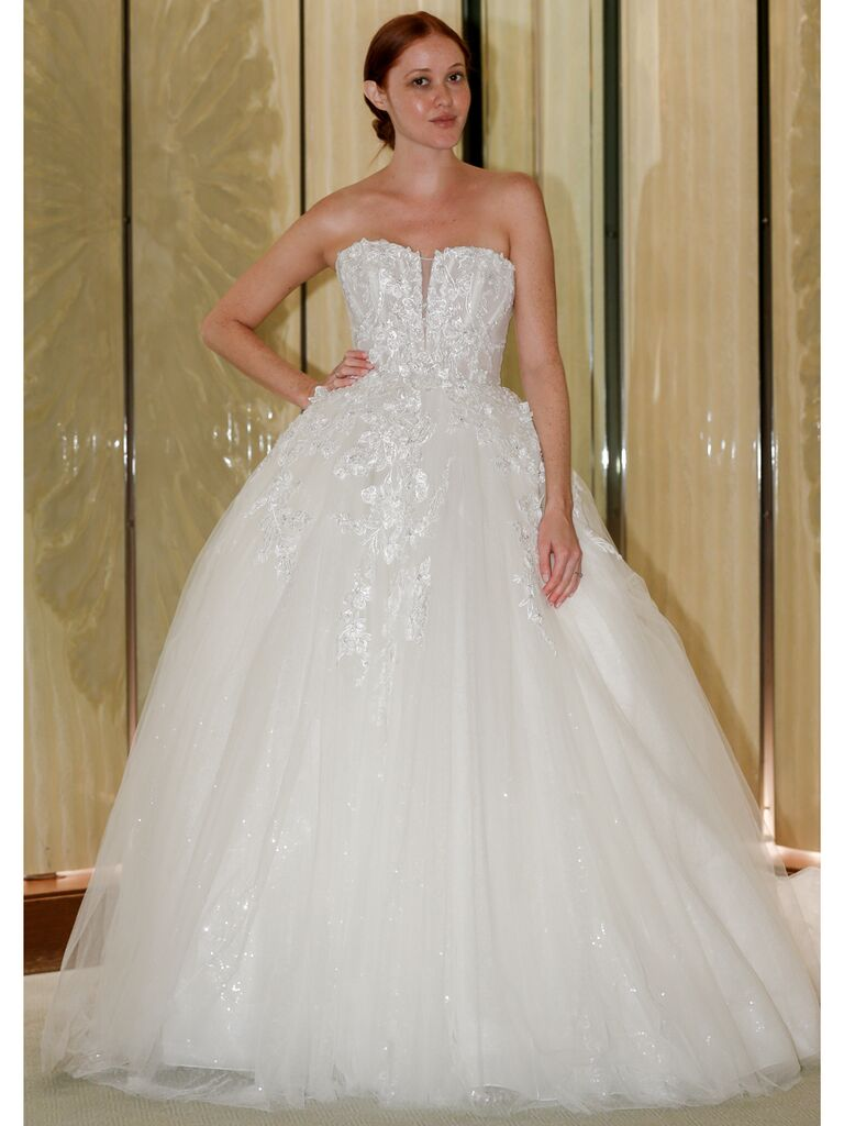 Randy Fenoli Fall 2019 Bridal Collection embroidered strapless tulle ball gown