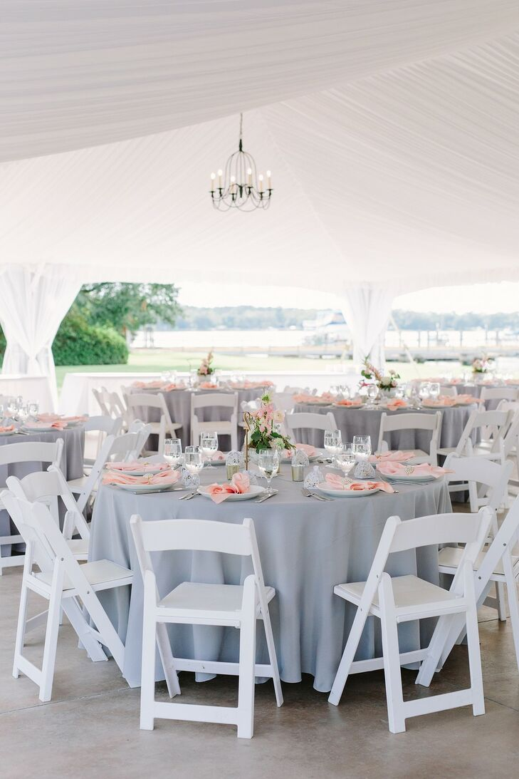 Elegant Tented Reception with Gray Linens and White Folding Chairs