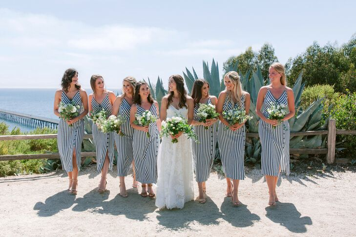 Preppy Bridesmaids with Navy and White Striped Dresses