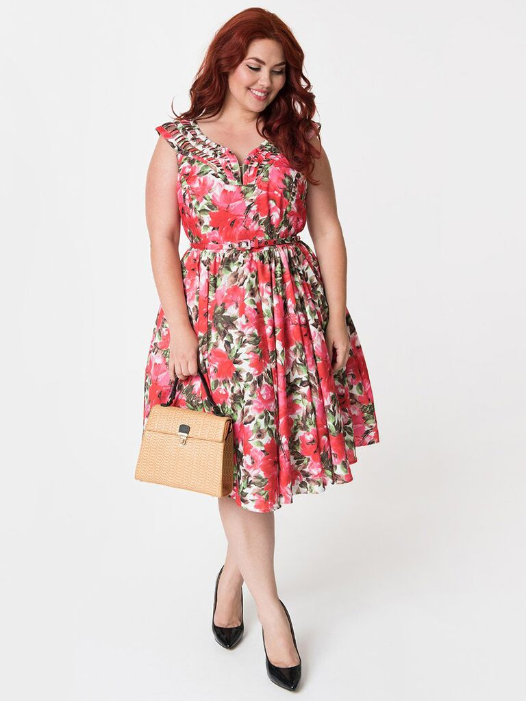 Unique Vintage floral swing dress spring wedding attire
