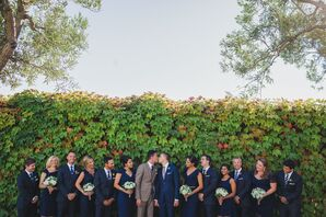 Wedding Party in Navy Suits and Bridesmaid Dresses