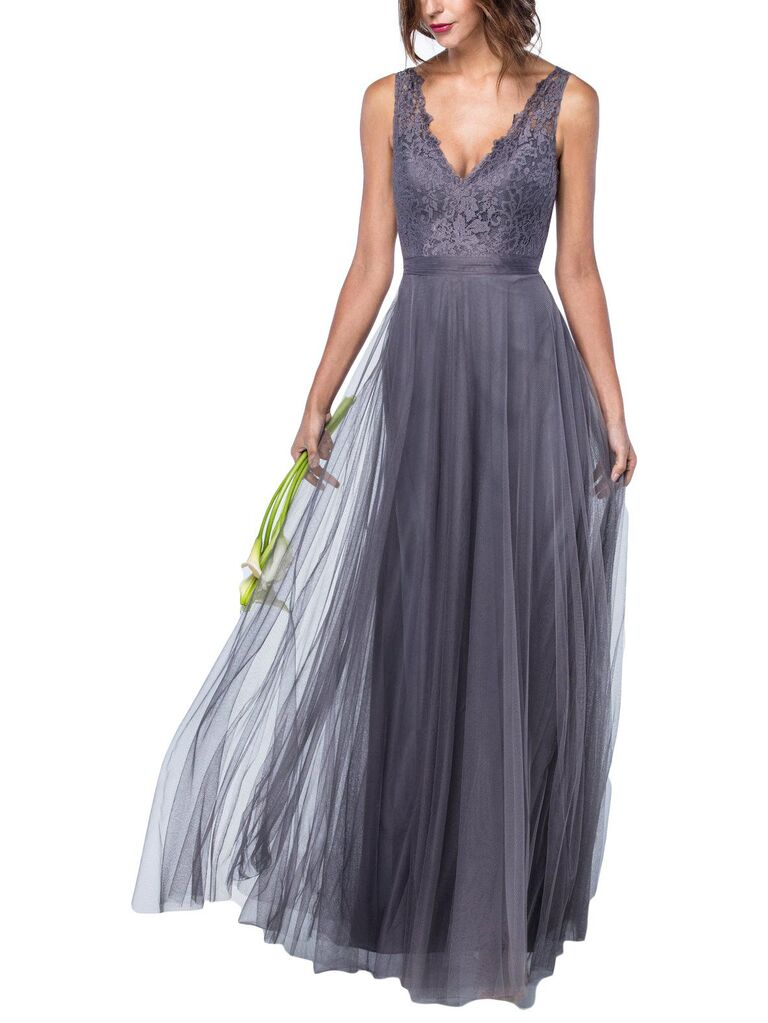 Purple gray lace bridesmaid dress