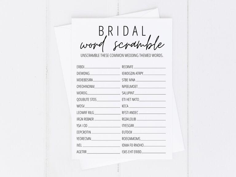 Free printable wedding word scramble