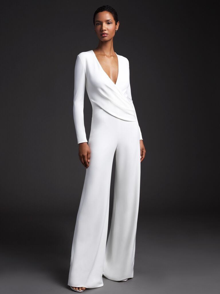 Cushnie Spring 2020 Bridal Collection draped bridal jumpsuit with long sleeves