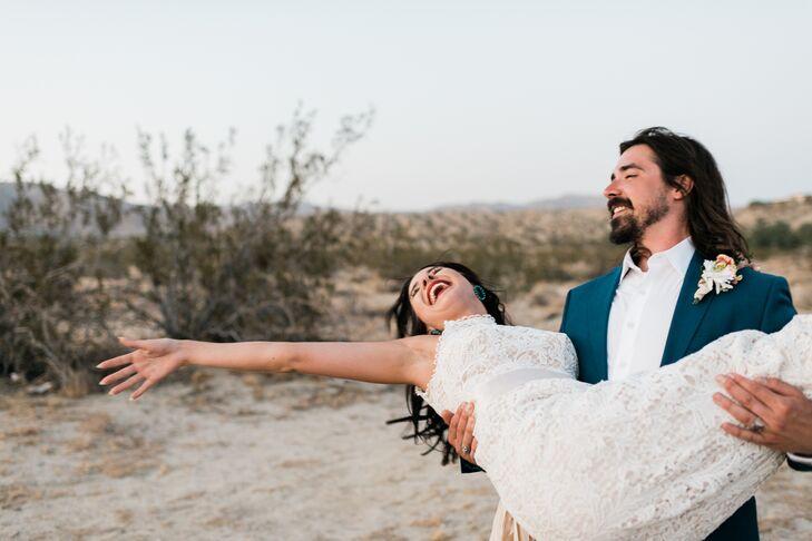 High-Neck Lace Column Wedding Dress