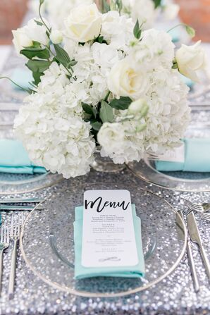 Turquoise Linens and Silver Flatware on Sparkly Glitter Tablecloth