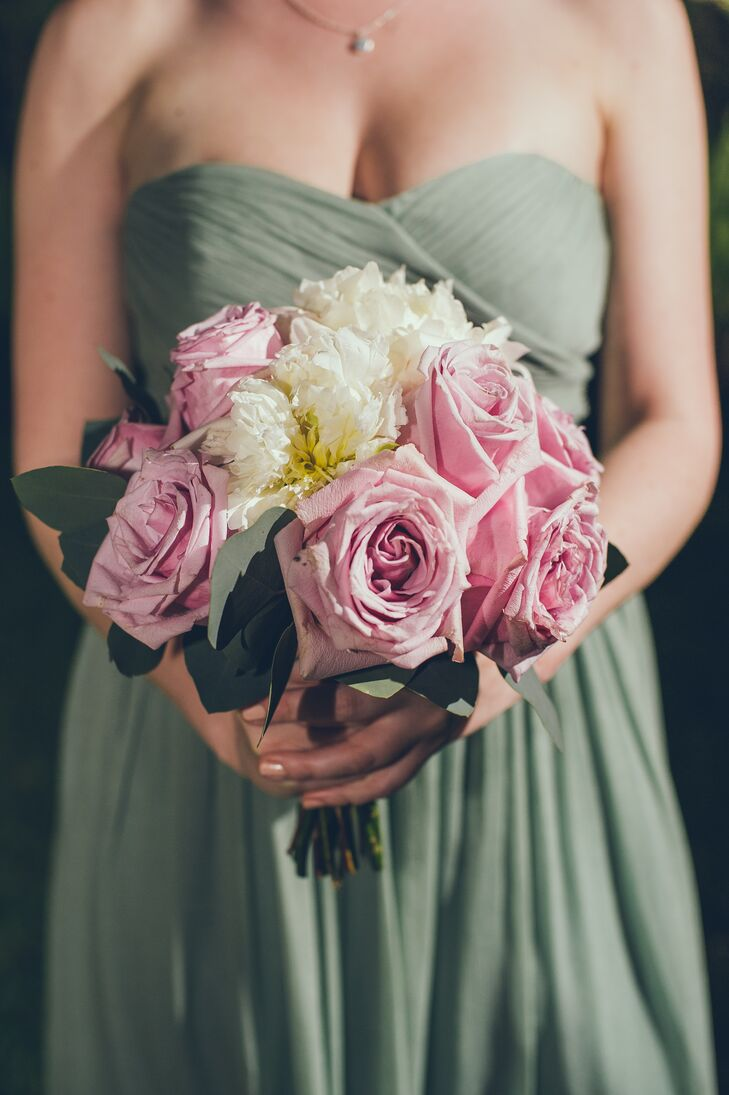 Pink Rose and Ivory Peony Bridesmaid Bouquet