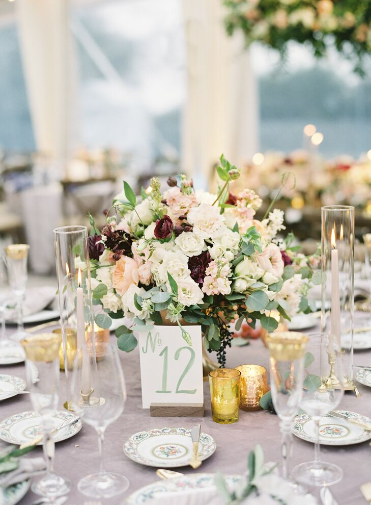 Green Calligraphy Table Number with Hydrangea, Peony and Ranunculus Centerpiece